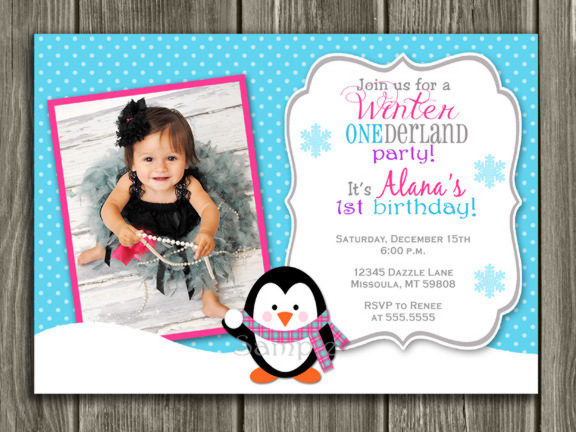 Penguin Birthday Invitation 3 - FREE thank you card included