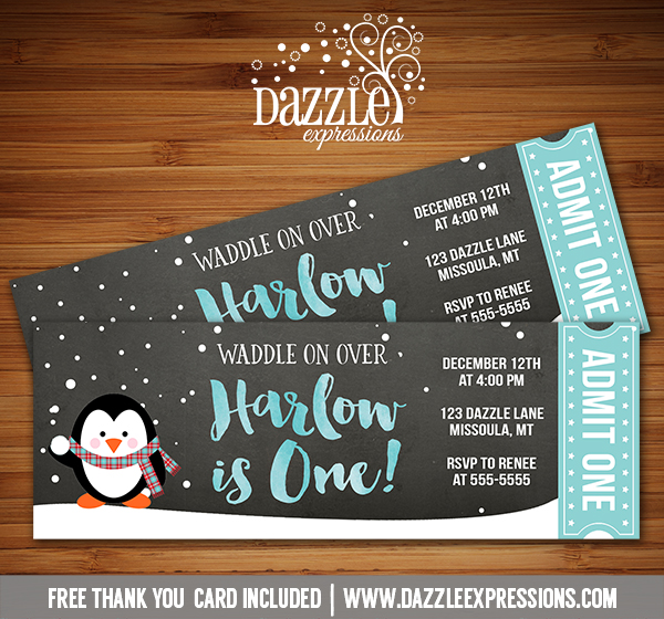 Penguin Chalkboard Ticket Invitation - FREE thank you card