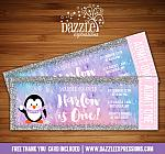 Penguin Glitter Ticket Invitation - FREE thank you card