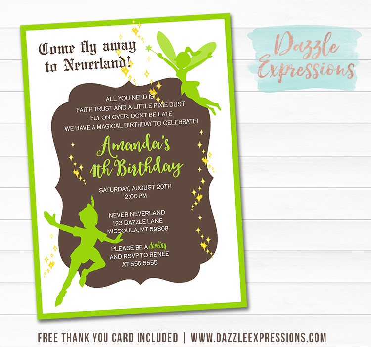 Peter Pan and Tinkerbell Inspired Invitation 1 - Thank You Card Included