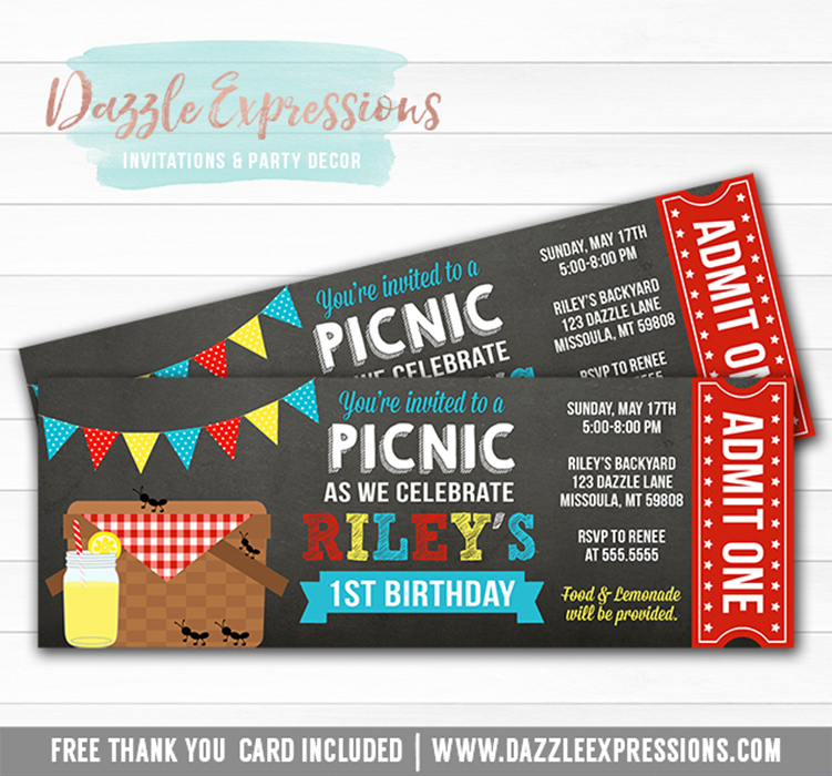 Printable Picnic Chalkboard Ticket Birthday Invitation  Party At