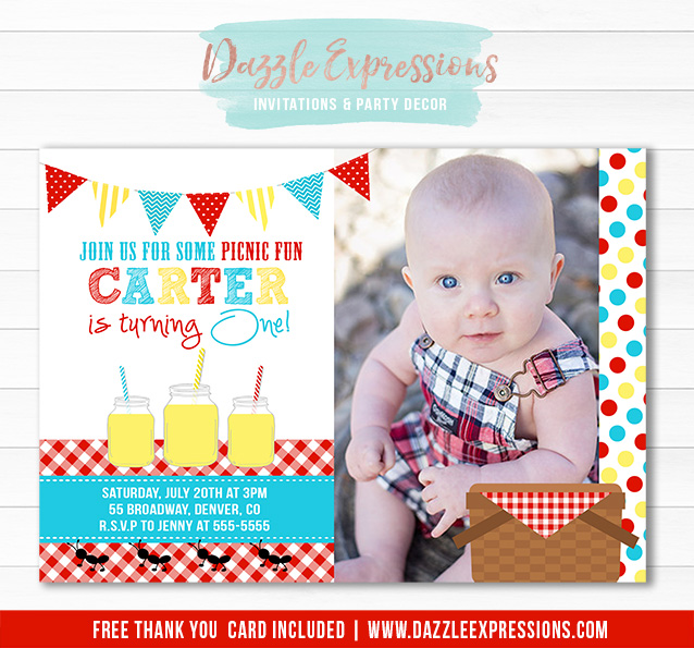 Printable picnic birthday invitation kids party at the park picnic birthday invitation 1 free thank you card included filmwisefo