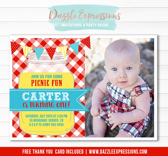 Printable Picnic Birthday Invitation  Kids Party At The Park