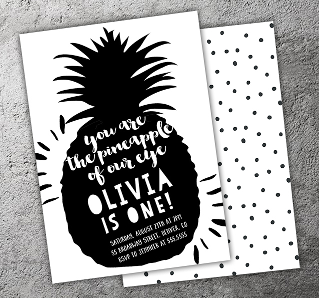 Pineapple of My Eye Invitation - FREE thank you card included