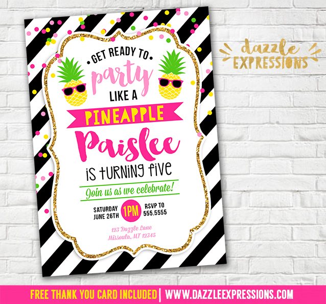 Printable party like a pineapple birthday invitation kids luau pineapple invitation 2 free thank you card included filmwisefo