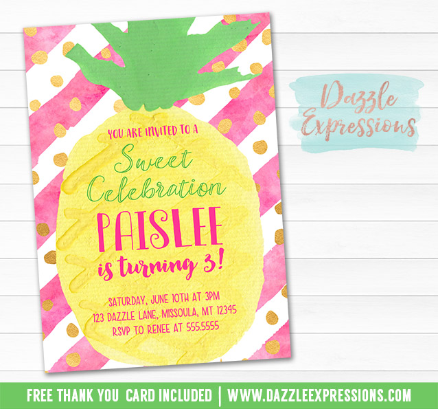 Favorite Printable Watercolor Pineapple Birthday Invitation - Hawaiian  AV15
