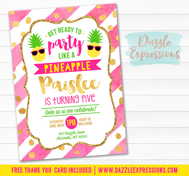 printable watercolor pineapple birthday invitation