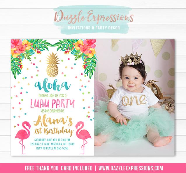 Printable Gold Pineapple Flamingo Birthday Invitation Watercolor – Flamingo Birthday Invitations