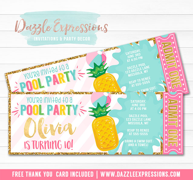 Pineapple Float Pool Party Ticket Invitation 1 - FREE thank you card
