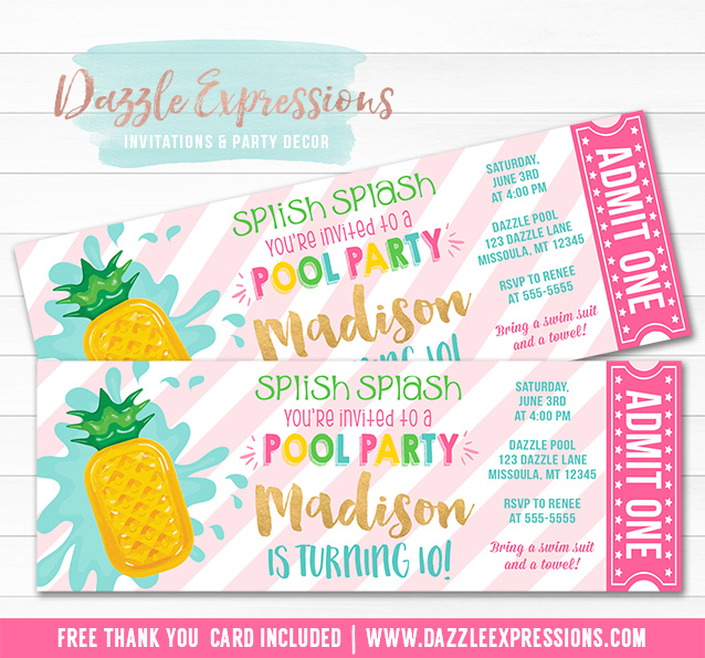 Pineapple Float Pool Party Ticket Invitation 2 - FREE thank you card