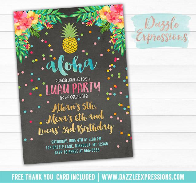 Attractive Printable Pineapple Luau Chalkboard Birthday Invitation - Hawaiian  QV92