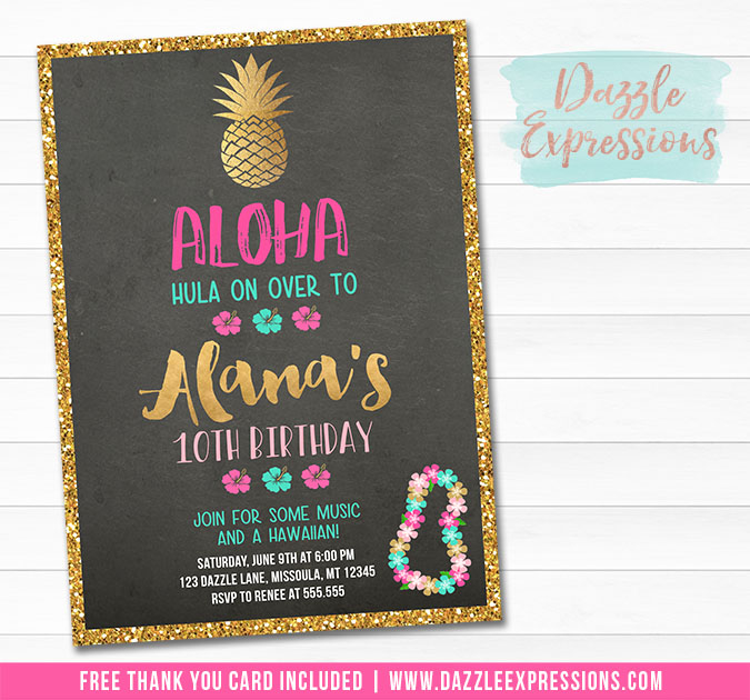 Pineapple Luau Chalkboard Invitation - Pink and Gold - FREE thank you card