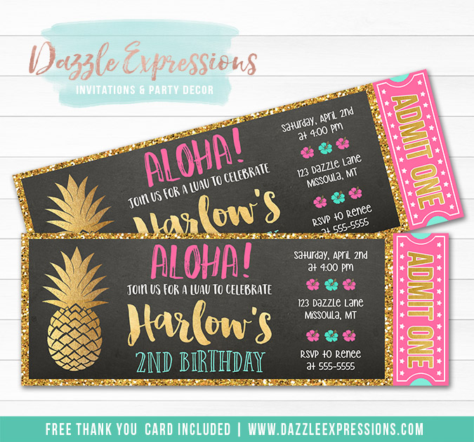 Pineapple Luau Chalkboard Ticket Invitation 1 - FREE thank you card