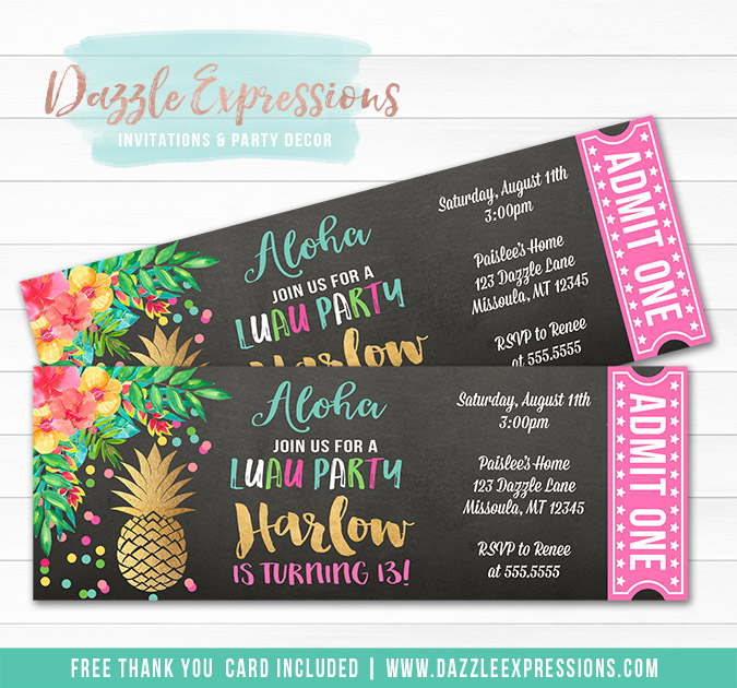 Pineapple Luau Chalkboard Ticket Invitation 2 - FREE thank you card