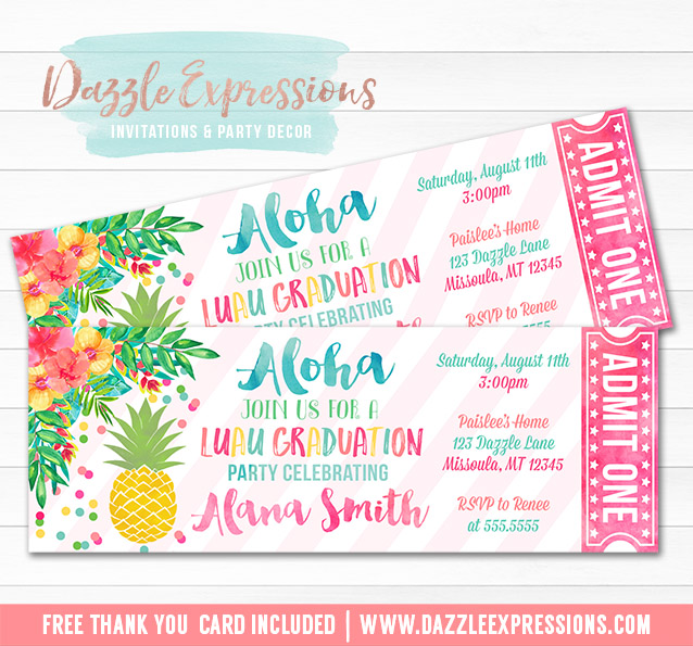 printable luau pineapple graduation party ticket invitation