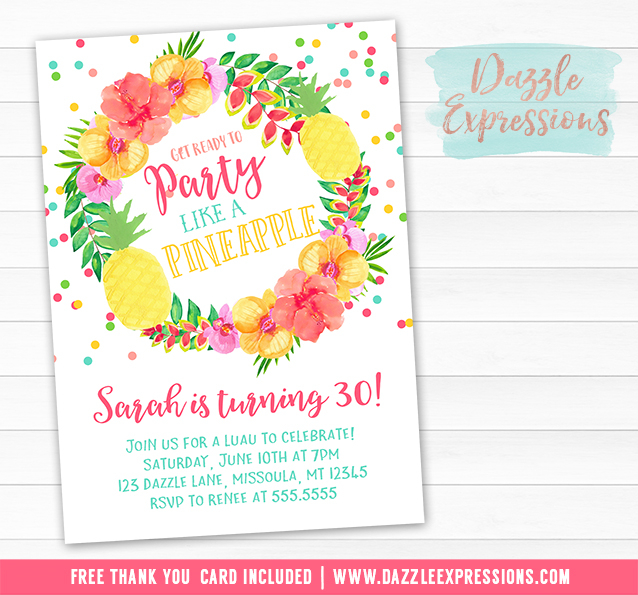 image regarding Printable Luau Invitations identified as Printable Pineapple Luau Birthday Invitation - Hawaiian Get together Decor - Grownup Occasion, Children Get together, Teenager Social gathering