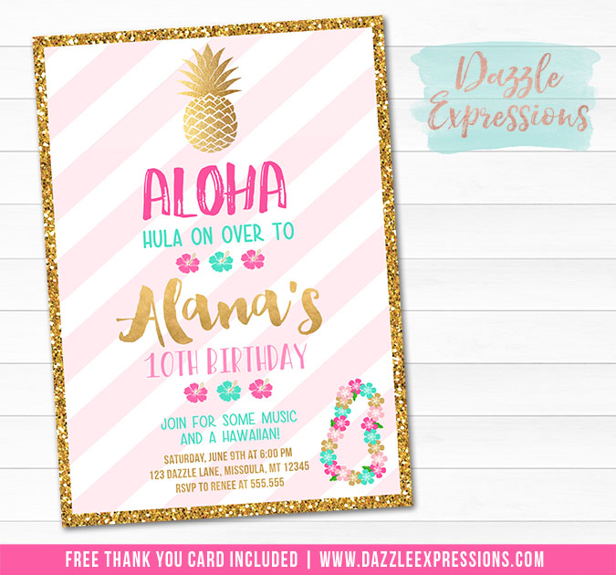 Pineapple Luau Invitation - Pink and Gold - FREE thank you card included