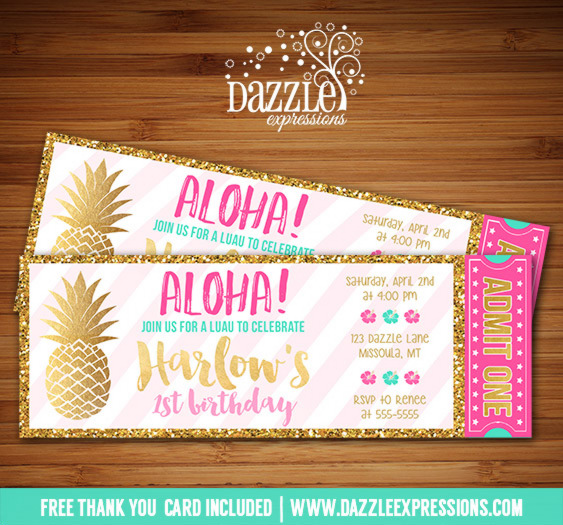Printable Pink And Gold Pineapple Luau Ticket Birthday Invitation