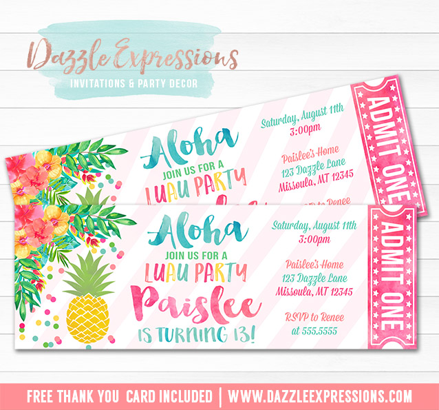printable pineapple luau birthday ticket invitation