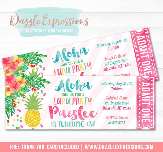 Pineapple Luau Ticket Invitation 3