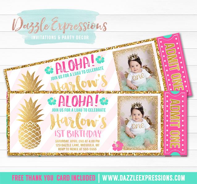 Pineapple Luau Ticket Invitation 2 - FREE thank you card