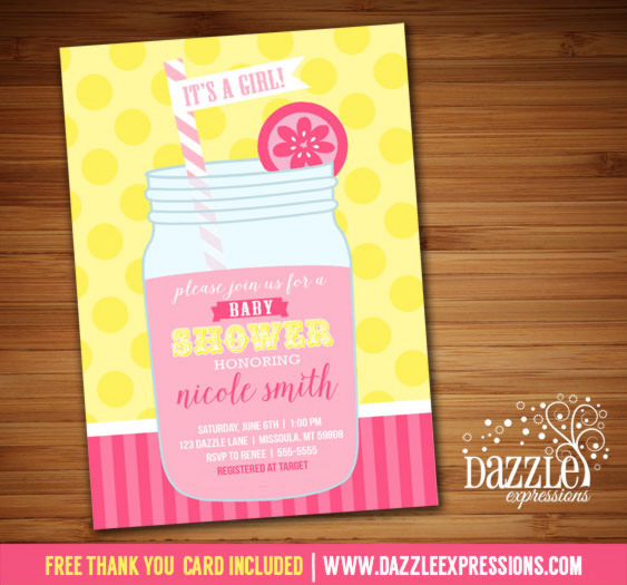 Pink Lemonade Baby Shower Invitation - FREE thank you card included