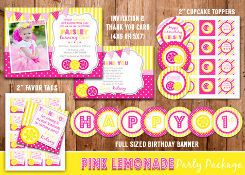 Pink Lemonade Complete Party Package - Printable