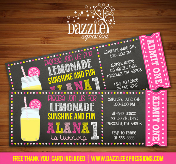 Pink Lemonade Chalkboard Ticket Invitation - FREE thank you card included