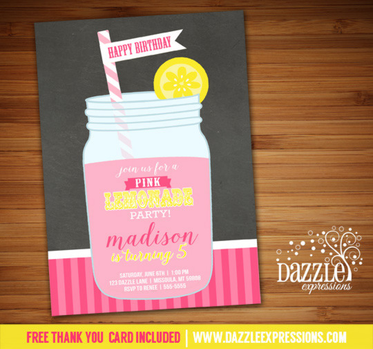 Pink Lemonade Chalkboard Invitation - FREE thank you card included