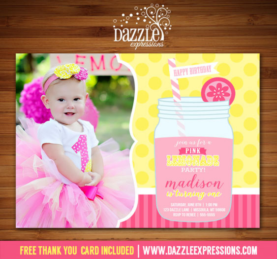 Pink Lemonade Invitation 6 - FREE thank you card included