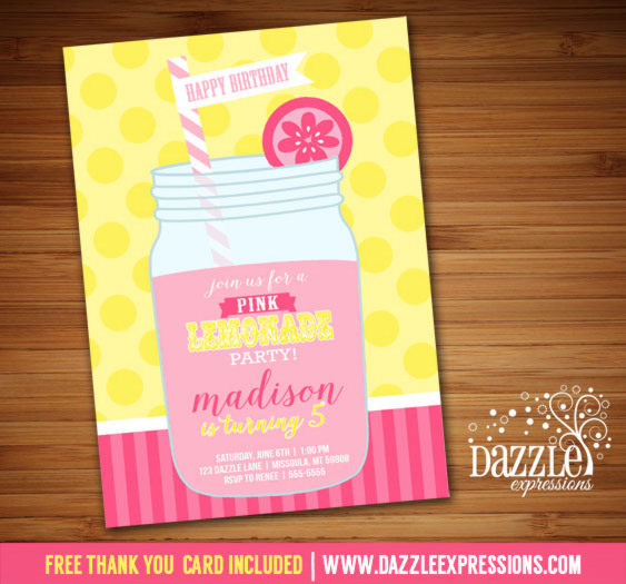 Pink Lemonade Invitation 5 - FREE thank you card included