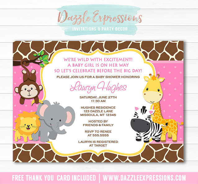 Printable pink jungle baby shower invitation baby girl jungle baby jungle baby shower invitation 2 free thank you card included filmwisefo