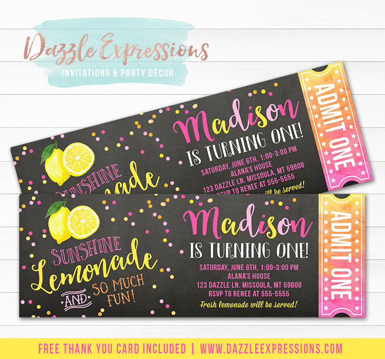 Pink Lemonade Chalkboard Ticket Invitation 2 - FREE thank you card included