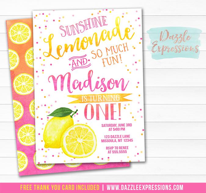 Pink Lemonade Watercolor Invitation 1 - FREE thank you card