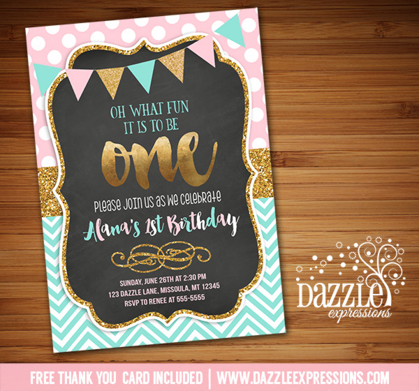 Printable Pink Mint And Gold Glitter Chalkboard Birthday Invitation