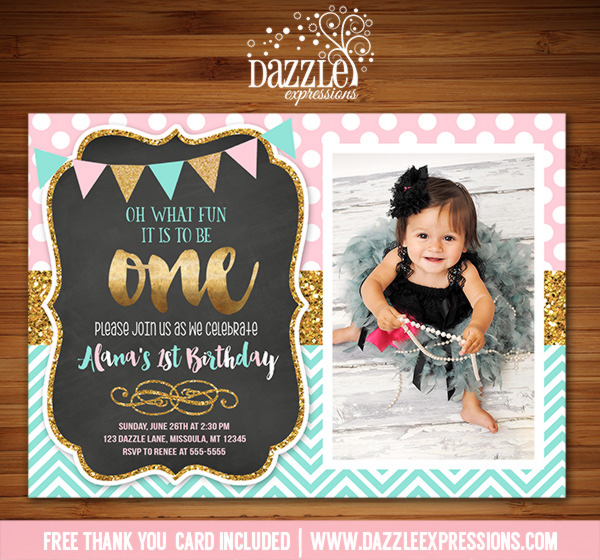 Printable Pink Mint And Gold Glitter Chalkboard Birthday - 1st birthday invitations gold and pink