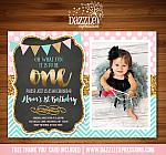 Pink Mint and Gold Chalkboard Birthday Invitation 1 - FREE thank you card