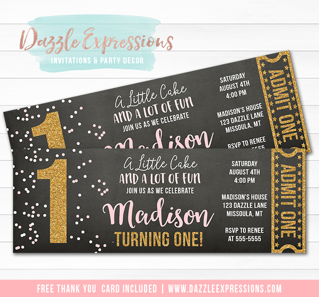 Pink and Gold Chalkboard Ticket Invitation 1 - FREE thank you card