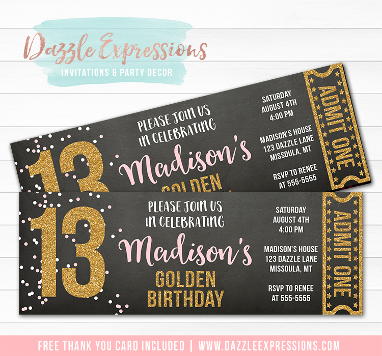 Pink and Gold Chalkboard Ticket Invitation 2 - FREE thank you card