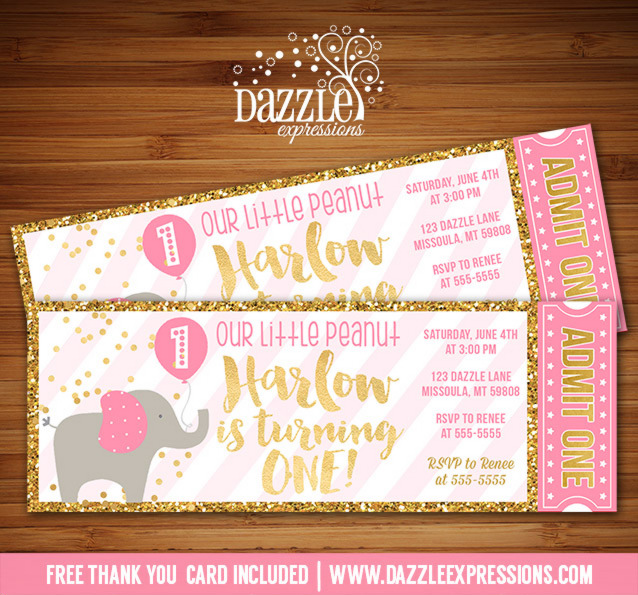 Pink And Gold Elephant Ticket Invitation