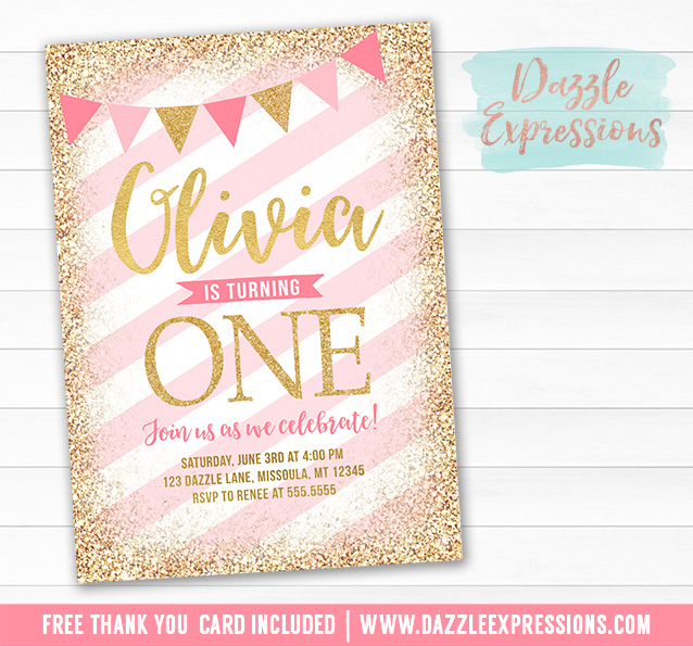 Pink And Gold Birthday Invitation 4