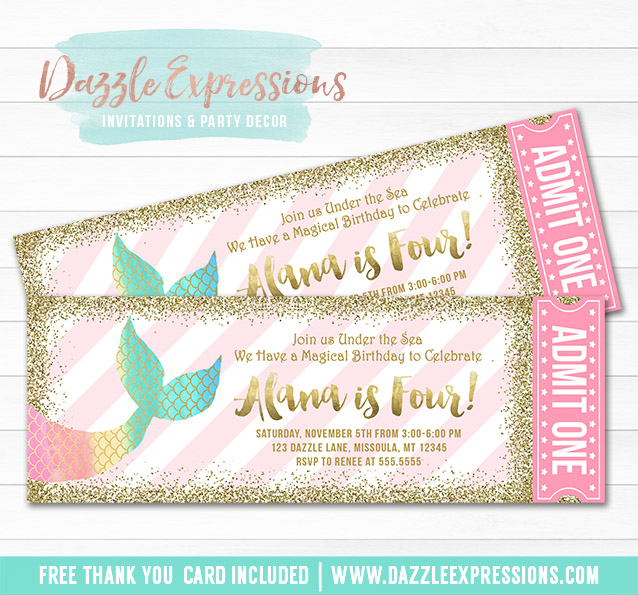 Mermaid Glitter Ticket Invitation 1