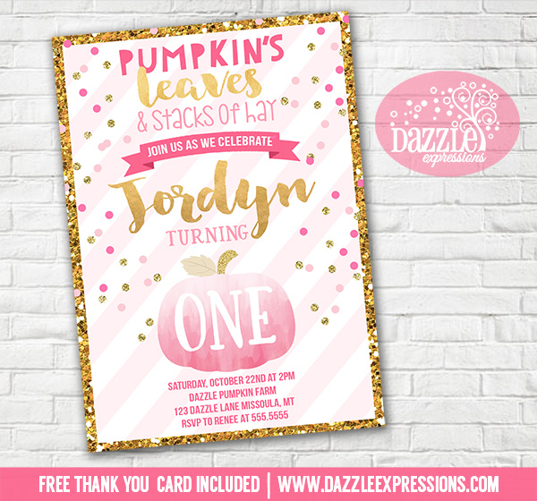 printable pink and gold glitter pumpkin birthday invitation girl