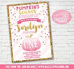 Pink and Gold Pumpkin Invitation 5 - FREE thank you card