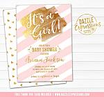 Pink and Gold Baby Shower Invitation 1 - FREE thank you card