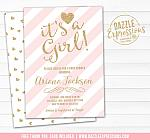 Pink and Gold Baby Shower Invitation 2 - FREE thank you card