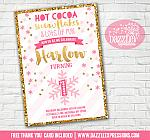 Pink and Gold Snowflake Invitation 4 - FREE thank you card included