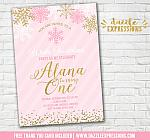 Pink and Gold Snowflake Invitation 6 - FREE thank you card included
