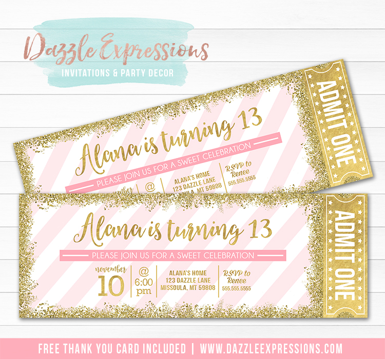 Pink and Gold Glitter Ticket Invitation 1 - FREE thank you card included