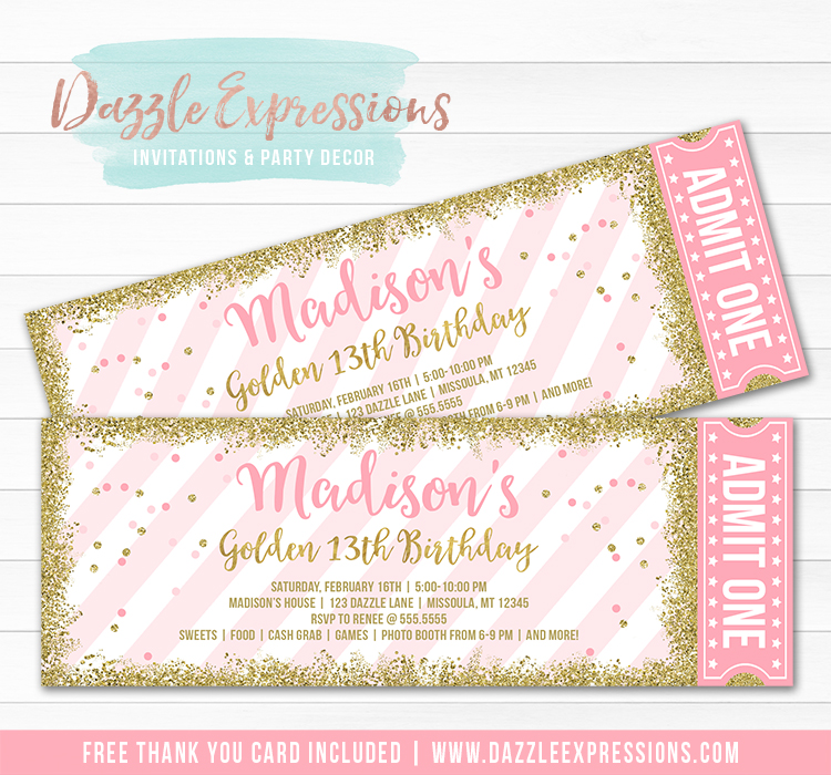 Pink and Gold Glitter Ticket Invitation 3 - FREE thank you card included